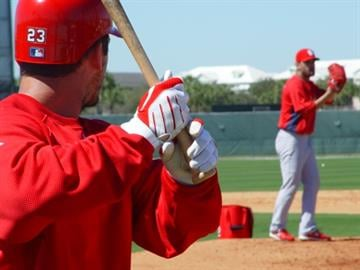 David Freese on deck before facing lefty Jaime Garcia during a live batting practice session. By KMOV Web Producer