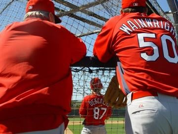 Pitching coach Dave Duncan (left) and pitcher Adam Wainwright (right) watch live batting practice as Cardinals prospect Daniel Descalso steps into the box. By KMOV Web Producer