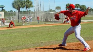 St. Louis Cardinals prospectJaime Garcia throws a bullpen session Monday morning. By Lakisha Jackson