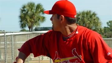 St. Louis Cardinals prospect Jaime Garcia throws a bullpen session Monday morning. By Lakisha Jackson