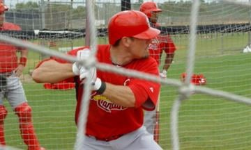 Cardinals prospect Tyler Greene at bat during a live batting practice session Tuesday. Greene is competing this Spring for a spot on the Cardinals big league roster. By Lakisha Jackson