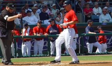 Boston Red Sox RF and ex-Cardinal J.D. Drew crosses home plate to put Boston up 1-0 over the Cardinals. By Lakisha Jackson
