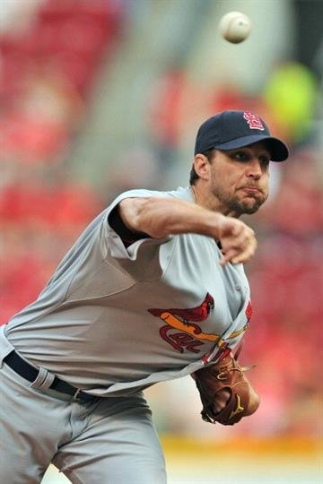 CINCINNATI, OH - JUNE 7:  Adam Wainwright #50 of the St. Louis Cardinals pitches in the first inning against the Cincinnati Reds at Great American Ball Park on June 7, 2013 in Cincinnati, Ohio.  (Photo by Jamie Sabau/Getty Images) By Jamie Sabau