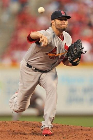 CINCINNATI, OH - JUNE 9:  Lance Lynn #31 of the St. Louis Cardinals pitches in the first inning against the Cincinnati Reds at Great American Ball Park on June 9, 2013 in Cincinnati, Ohio.  (Photo by Jamie Sabau/Getty Images) By Jamie Sabau