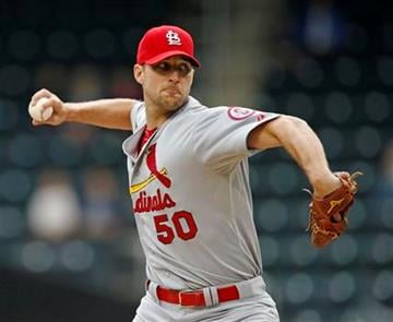 St. Louis Cardinals starting pitcher Adam Wainwright delivers in the first inning of a baseball game against the New York Mets in New York, Thursday, June 13, 2013. (AP Photo/Kathy Willens) By Kathy Willens