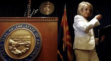 Arizona Gov. Jan Brewer leaves a news conference at the Arizona Capitol Monday, June 25, 2012, in Phoenix. / Ross D. Franklin By Belo Content KMOV