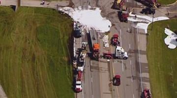 A section of Route 3 was closed after two tractor trailers crashed in Madison County, Ill. on Wednesday. By Belo Content KMOV