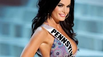 In this photo provided by the Miss Universe Organization, Miss Pennsylvania Sheena Monnin competes during the 2012 Miss USA Presentation Show on Wednesday, May 30, 2012 in Las Vegas By Belo Content KMOV