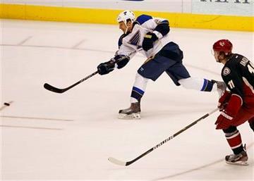 St. Louis Blues' Chris Stewart, left, shoot on goal as Phoenix Coyotes' Martin Hanzal looks on during the first period of an NHL hockey game, Friday, Dec. 23, 2011, in Glendale, Ariz.  (AP Photo/Matt York) By Matt York