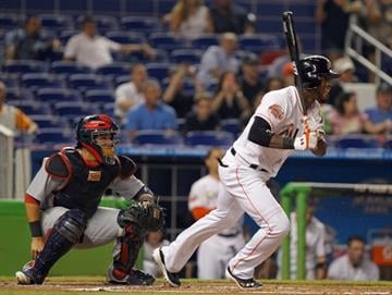 MIAMI, FL - JUNE 25:  Jose Reyes #7 of the Miami Marlins hits during a game against the St. Louis Cardinals at Marlins Park on June 25, 2012 in Miami, Florida.  (Photo by Mike Ehrmann/Getty Images) By Mike Ehrmann