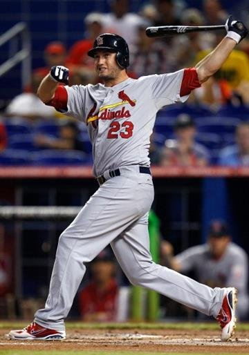 MIAMI, FL - JUNE 27:  David Freese #23 of the St. Louis Cardinals reacts to a hit during a game against the Miami Marlins at Marlins Park on June 27, 2012 in Miami, Florida.  (Photo by Sarah Glenn/Getty Images) By Sarah Glenn