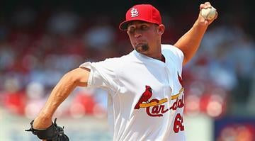 ST. LOUIS, MO - JUNE 30: Reliever Barret Browning #62 of the St. Louis Cardinals makes his MLB debut against the Pittsburgh Pirates at Busch Stadium on June 30, 2012 in St. Louis, Missouri. (Photo by Dilip Vishwanat/Getty Images)