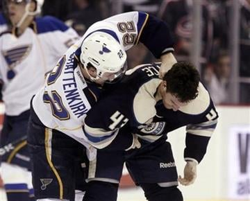St. Louis Blues' Kevin Shattenkirk, left, fights with Columbus Blue Jackets' Darryl Boyce in the second period of an NHL hockey game in Columbus, Ohio,  Sunday, March 11, 2012. (AP Photo/Paul Vernon) By Paul Vernon