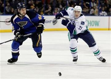 St. Louis Blues' Roman Polak, left, of the Czech Republic, and Vancouver Canucks' Mason Raymond, chase the puck during the first period of an NHL hockey game Thursday, Jan. 12, 2012, in St. Louis. (AP Photo/Jeff Roberson) By Jeff Roberson