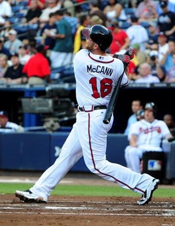 ATLANTA, GA - MAY 30: Brian McCann #16 of the Atlanta Braves hits a first inning home run against the St. Louis Cardinals at Turner Field on May 30, 2012 in Atlanta, Georgia. (Photo by Scott Cunningham/Getty Images) By Scott Cunningham