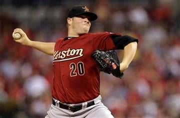 Houston Astros starting pitcher Bud Norris throws during the fourth inning of a baseball game against the St. Louis Cardinals, Wednesday, July 27, 2011, in St. Louis. (AP Photo/Jeff Roberson) By Jeff Roberson