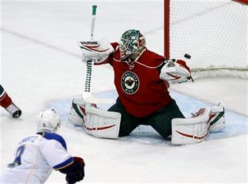 St. Louis Blues center Jaden Schwartz (9) scores on Minnesota Wild goalie Niklas Backstrom (32) of Finland during the first period of an NHL hockey game in St. Paul, Minn., Monday, April 1, 2013. (AP Photo/Ann Heisenfelt) By Ann Heisenfelt