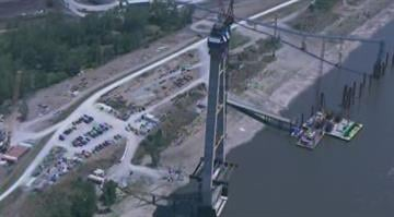 (KMOV)-- SkyZoom 4 flew above the New Mississippi River Bridge project on Friday to see how it's coming along. The $667-million bridge, located just north of downtown, is expected to open in January, 2014. By Brendan Marks