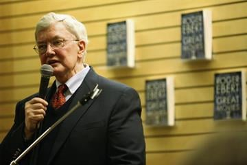 """SANTA MONICA, CA - MARCH 07:  Film critic Roger Ebert speaks at the signing for his new book """"Great Movies II"""" at Barnes & Noble Booksellers on March 7, 2006 in Santa Monica, California. (Photo by David Livingston/Getty Images) By David Livingston"""