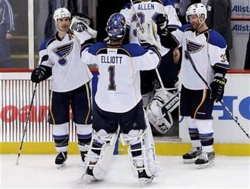St. Louis Blues goalie Brian Elliott (1) celebrates with Barret Jackman, left, and Jordan Leopold, right, after defeating the Detroit Red Wings 1-0 in an NHL hockey game in Detroit, Sunday April 7, 2013. (AP Photo/Paul Sancya) By Paul Sancya