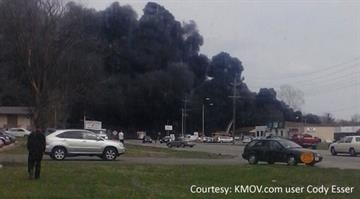 Smoke pours from the fire at Marty's Salvage Yard in Cahokia, Illinois on Monday, April 8, 2013. KMOV.com user Cody Esser sent us this photo of the fire in Cahokia, Illinois. By Bryce Moore