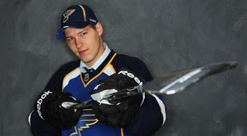 Dmitri Jaskin by the St. Louis Blues poses for a photo portrait during day two of the 2011 NHL Entry Draft at Xcel Energy Center on June 25, 2011 in St Paul, Minnesota.  Jaskin was selected 41st overall. (Photo by Nick Laham/Getty Images) By Nick Laham
