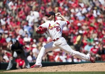 ST. LOUIS, MO - APRIL 14: Jaime Garcia #54 of the St. Louis Cardinals delivers a pitch during the game against the Milwaukee Brewers at Busch Stadium on April 14, 2013 in St. Louis, Missouri. (Photo by David Welker/Getty Images) By David Welker