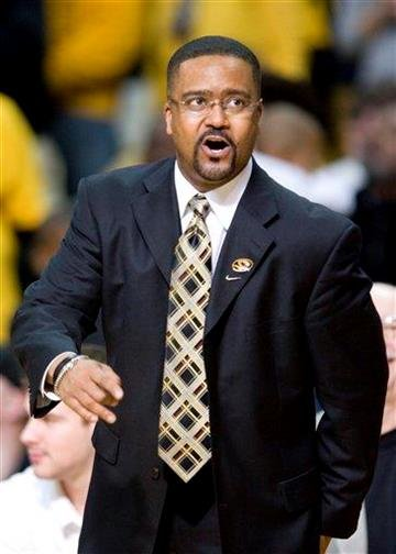 Missouri head coach Frank Haith discusses a call with a referee during the second half of an NCAA college basketball game against Baylor Saturday, Feb. 11, 2012, in Columbia, Mo. Missouri won the game 72-57. (AP Photo/L.G. Patterson) By L.G. PATTERSON