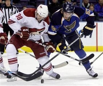 Phoenix Coyotes' Vernon Fiddler, left, and St. Louis Blues' David Perron chase a loose puck during the second period of an NHL hockey game Thursday, Nov. 19, 2009, in St. Louis. (AP Photo/Jeff Roberson) By Jeff Roberson