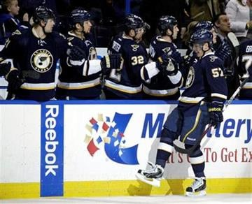 St. Louis Blues' David Perron (57) celebrates with teammates on the bench after scoring a goal in the first period of an NHL hockey game against the Colorado Avalanche, Saturday, Feb. 11, 2012, in St. Louis. (AP Photo/Tom Gannam) By Tom Gannam