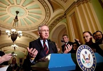 Senate Majority Leader Harry Reid of Nev., talks to reporters about the impasse among the payroll tax conferees, Tuesday, Feb. 14, 2012, on Capitol Hill in Washington.  (AP Photo/J. Scott Applewhite) By J. Scott Applewhite