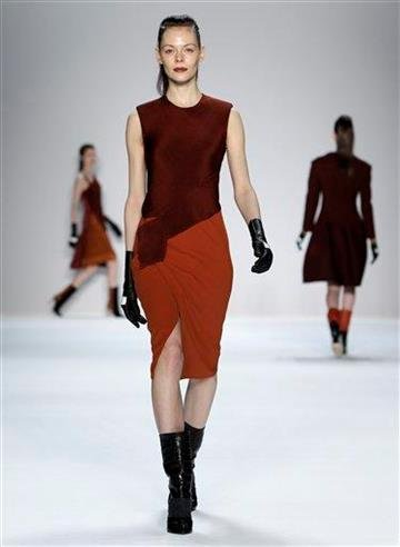 The Narciso Rodriguez Fall 2012 collection is modeled during Fashion Week in New York, Tuesday, Feb. 14, 2012.  (AP Photo/Kathy Willens) By Kathy Willens