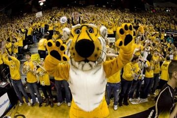 COLUMBIA, MO - FEBRUARY 04:   Truman the Tiger pumps up the crowd before a game between the Missouri Tigers and the Kansas Jayhawks the first half at Mizzou Arena on February 4, 2012 in Columbia, Missouri. (Photo by Ed Zurga/Getty Images) By Ed Zurga