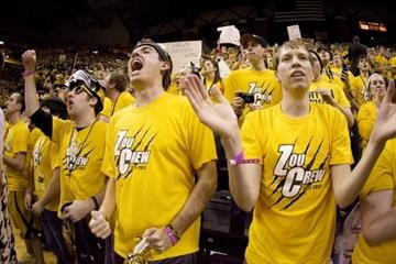COLUMBIA, MO - FEBRUARY 04:  Missouri Tigers fans cheer on its team during the first half of a game against the Kansas Jayhawks at Mizzou Arena on February 4, 2012 in Columbia, Missouri. (Photo by Ed Zurga/Getty Images) By Ed Zurga