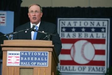 COOPERSTOWN, NY - JULY 31: Hall of Famer Gary Carter speaks at the Baseball Hall of Fame Induction ceremony on July 31, 2005 at the Clark Sports Complex in Cooperstown, New York.  (Photo by Ezra Shaw/Getty Images) By Ezra Shaw