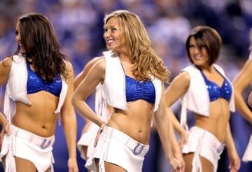 INDIANAPOLIS, IN - NOVEMBER 27:  The Indianapolis Colts cheerleaders perform during the game against the Carolina Panthers at Lucas Oil Stadium on November 27, 2011 in Indianapolis, Indiana.  (Photo by Andy Lyons/Getty Images) By Andy Lyons