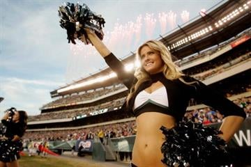 PHILADELPHIA, PA - NOVEMBER 27:  A cheerleader for the Philadelphia Eagles performs against the New England Patriots at Lincoln Financial Field on November 27, 2011 in Philadelphia, Pennsylvania.  (Photo by Rich Schultz/Getty Images) By Rich Schultz