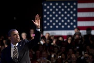 US President Barack Obama waves after speaking during a Democratic campaign fundraiser at the Nob Hill Masonic Center in San Francisco, California, February 16, 2012. AFP PHOTO / Saul LOEB (Photo credit should read SAUL LOEB/AFP/Getty Images) By SAUL LOEB