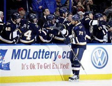 St. Louis Blues' Ryan Reaves (75) celebrates with teammates at the bench after scoring a goal in the first period of an NHL hockey game against the Minnesota Wild, Saturday, Feb. 18, 2012 in St. Louis.(AP Photo/Tom Gannam) By Tom Gannam