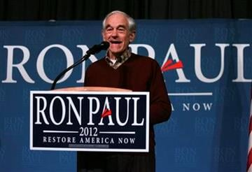 Republican presidential candidate Rep. Ron Paul, R-Texas, speaks to supporters at a rally held at Union Station Saturday, Feb. 18, 2012, in Kansas City, Mo. (AP Photo/Ed Zurga) By ED ZURGA