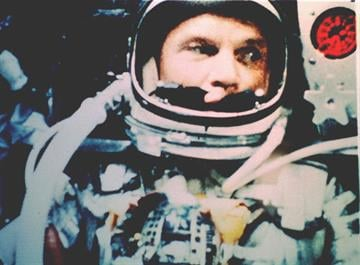 CAPE CANAVERAL, FL - February 20, 1962 - Astronaut John Glenn, Jr. photographed in space by an automatic sequence motion picture camera. Glenn was in a state of weightlessness traveling at 17,500 mph as this picture was taken. By NASA