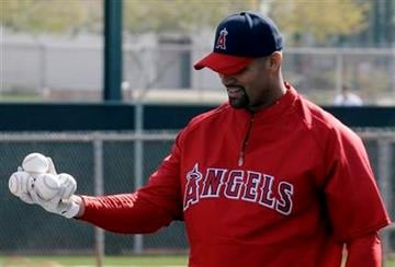 Los Angeles Angels' Albert Pujols puts some balls away after taking batting practice during a spring training baseball workout, Monday, Feb. 20, 2012, in Tempe, Ariz. (AP Photo/Morry Gash) By Morry Gash