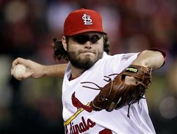 St. Louis Cardinals relief pitcher Lance Lynn throws during the sixth inning of Game 6 of baseball's World Series against the Texas Rangers Thursday, Oct. 27, 2011, in St. Louis. (AP Photo/Matt Slocum) By Matt Slocum
