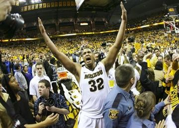 COLUMBIA, MO - FEBRUARY 04:   Steve Moore #32 of the Missouri Tigers celebrates a 74-71 win over the Kansas Jayhawks at Mizzou Arena on February 4, 2012 in Columbia, Missouri. (Photo by Ed Zurga/Getty Images) By Ed Zurga