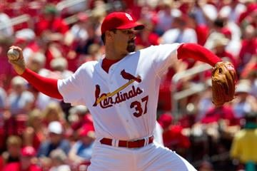 ST. LOUIS - JUNE 30: Starting pitcher Jeff Suppan #37 of the St. Louis Cardinals throws against the Arizona Diamondbacks at Busch Stadium on June 30, 2010 in St. Louis, Missouri.  (Photo by Dilip Vishwanat/Getty Images) By Dilip Vishwanat