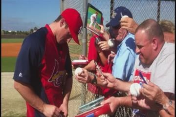David Freese signs autographs at spring training 2012. By Bryce Moore
