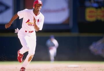 2 Apr 1998:  Willie McGee of the St. Louis Cardinals in action during a game against the Los Angeles Dodgers at Busch Stadium in St. Louis, Missouri. The Cardinals defeated the Dodgers 8-5. Mandatory Credit: Elsa Hasch  /Allsport By Elsa