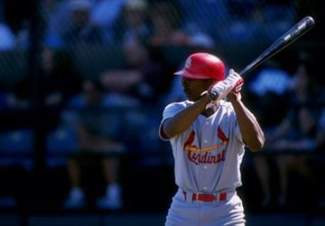 10 Mar 1998:  Outfielder Willie McGee of the St. Louis Cardinals in action during a spring training game against the Baltimore Orioles at the Fort Lauderdale Stadium in Fort Lauderdale, Florida. Mandatory Credit: Jamie Squire  /Allsport By Jamie Squire