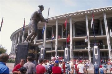 12 Jul 1998: General view of a statue of Stan Musial outside of Busch Stadium during the game between the St. Louis Cardinals and the Houston Astros in St. Louis, Missouri. The Cardinals defeated the Astros 6-4. By Stephen Dunn