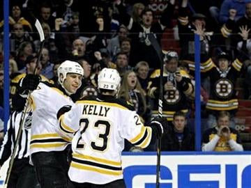 Boston Bruins' Chris Kelly (23) celebrates with teammate Milan Lucic after scoring a goal in the first period of an NHL hockey game against the St. Louis Blues, Wednesday, Feb. 22, 2012, in St. Louis. (AP Photo/Tom Gannam) By Tom Gannam